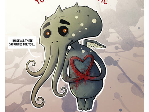 HAPPY VALENTINE,Life of Lhu Cthulhu comic strips online the Blue Chest fhtagntastic sacrifice cultists