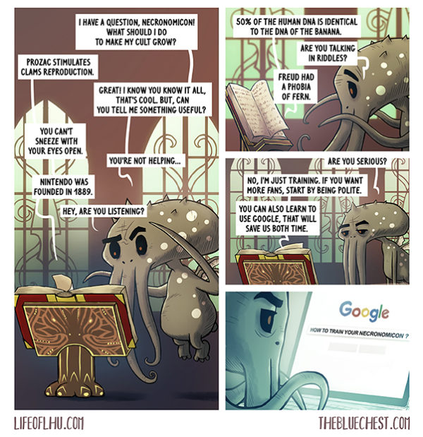 Life of Lhu Cthulhu comic strips online the Blue Chest necronomicon Thor