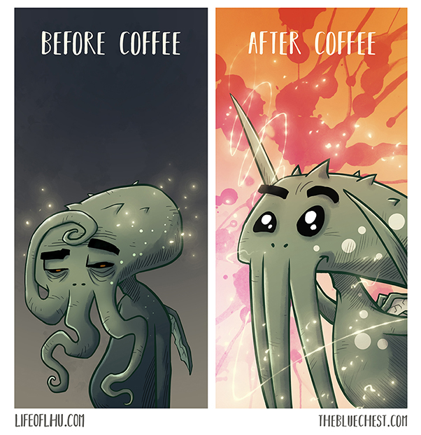 Life of Lhu Cthulhu comic strips online the Blue Chest after coffee