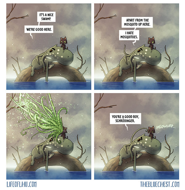 Cat versus Mosquito Cthulhu the blue chest comics online web comic schrodinger old ones