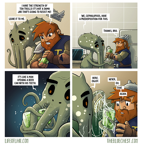 Cthulhu and thor try to open a jar with great old ones powers